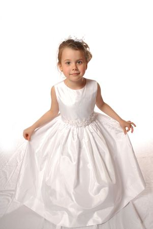 curtsy: girl in white dress