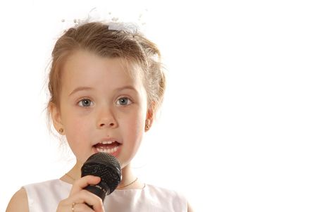 syncing: girl with microphone Stock Photo