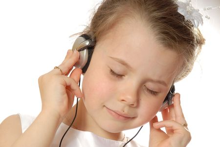 girl happy with mp3 player photo