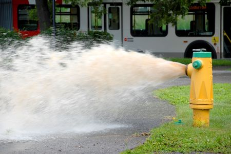 hydrant: openned fire hydrant with sewage water