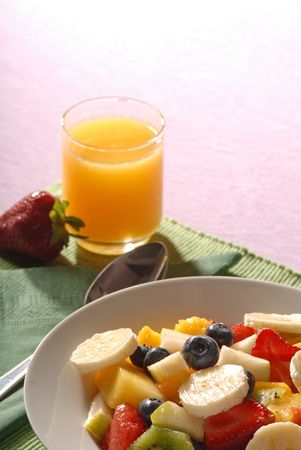 fruit salad: fruit salad and juice