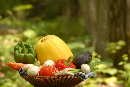 vegetables in a basket shot in nature setting photo