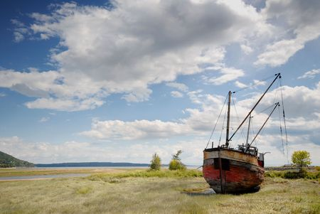 abandoned: abandoned fishing boat Stock Photo