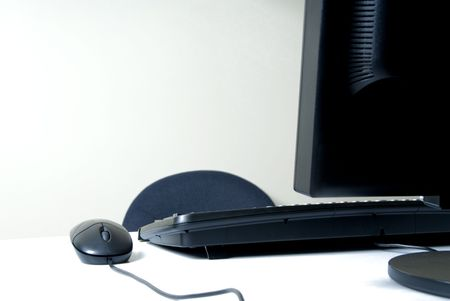 business setup with computer and keyboard Stock Photo - 545414