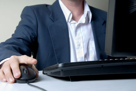 businessman on the computer with mouse Stock Photo - 545413