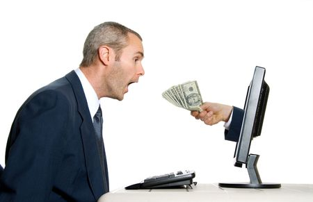baffled: surprised man getting money from the internet