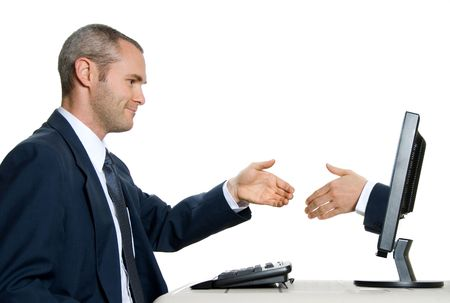 technology deal: man in blue suit shaking hands with virtual hand