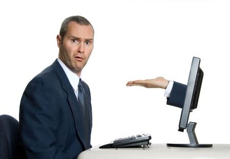 hand coming out of lcd screen with baffled man Stock Photo - 621091