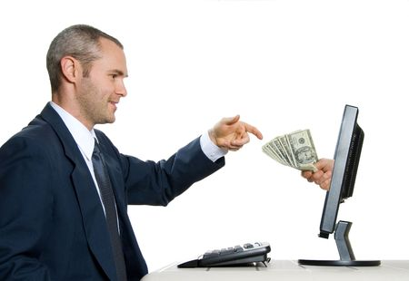 exchange of money on the internet isolated Stock Photo - 621096