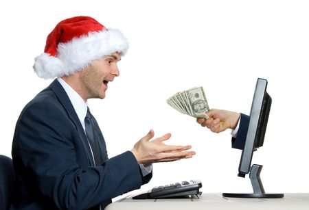 christmas debt: internet e-commerce at x-mas time in office Stock Photo