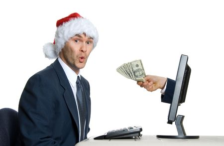 happy man in office getting pay bonus Stock Photo - 621103