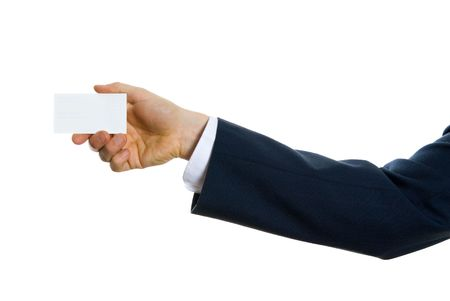 hand of businessman holding a blank card Stock Photo - 621448