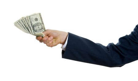 man in blue suit holding us money to give Stock Photo - 621442