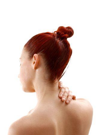 back ache: female with neck pain holding nape isolated Stock Photo