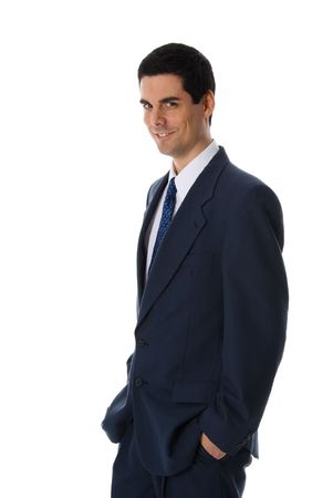 man in blue suit smiling on white background Stock Photo - 652975