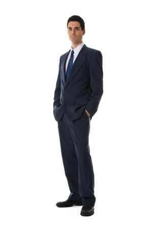 man in blue suit full front shot on white Stock Photo - 652980