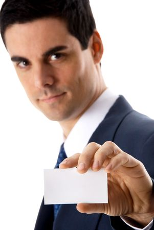 man in blue suit showing a business card photo