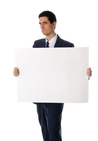 advertizing: man holding a blank card for advertizing