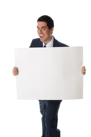 advertize: hyper man in blue suit holding a white card Stock Photo