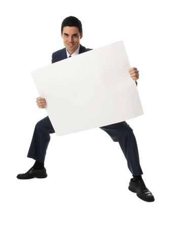 advertize: man in blue suit holding a blank card Stock Photo