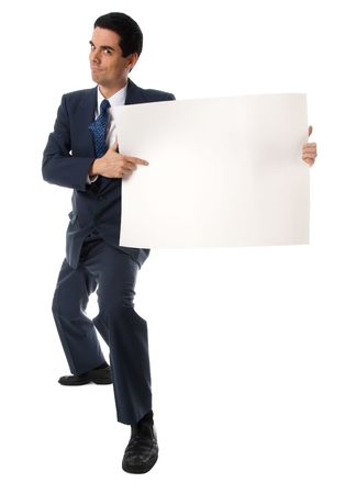 advertize: businessman in blue suit holding a white card