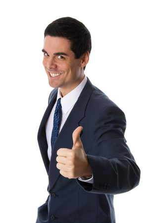 confirmed: man in blue suit giving a thumbs up