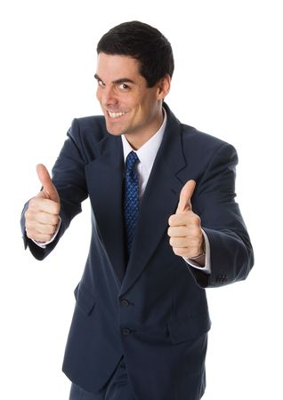 confirmed: businessman on white background with his 2 thumbs up Stock Photo