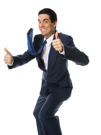 confirmed: crazy businessman in blue suit doing the thumbs up!