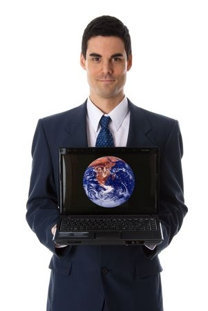 man in blue suit showing laptop at the camera Stock Photo - 652962