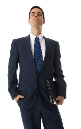 laptop man in blue suit with snobish attitude Stock Photo - 652926