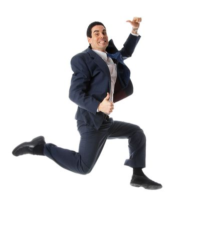 man in blue suit jumping with thumbs up photo