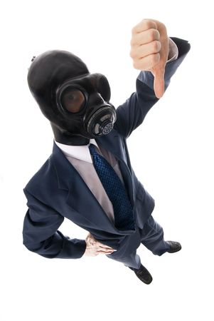 man in blue suit with black rubber mask Stock Photo - 652961