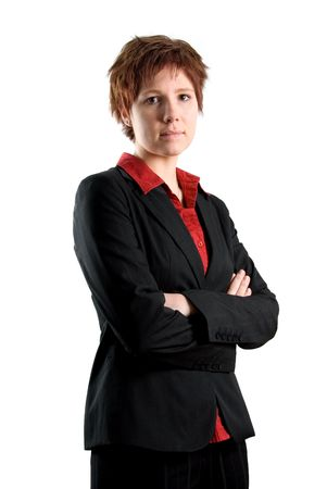 serious woman in a black jacket and a red blouse Stock Photo - 665017