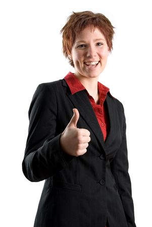 confirmed: woman in a black jacket with thumbs up