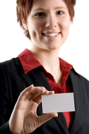 woman holding a blank white business card photo