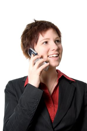 girl in business clothes on the cell phone happy Stock Photo - 665023