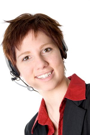 girl with headset smiling at the camera photo
