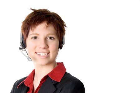 reps: representantedelegado t�cnico de cliente con el receptor de cabeza y sonre�r Foto de archivo