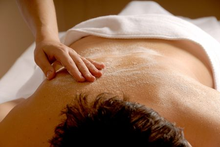 woman in a spa getting a salt glow Stock Photo - 693745