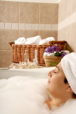 bath in a spa with a woman in it to relax Stock Photo - 693793