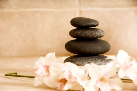 lastone: day spa stone and orchids for lastone therapy Stock Photo