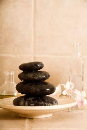 dayspa: dayspa products like stone for massage and oils Stock Photo