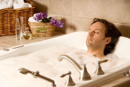 male client in an aroma bath at a spa Stock Photo - 693757