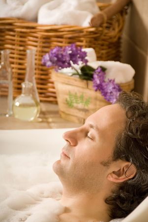 day spa bath with bubbles and aroma Stock Photo - 693758