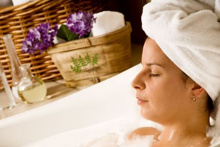 woman getting aromatherapy in a day spa Stock Photo - 693537