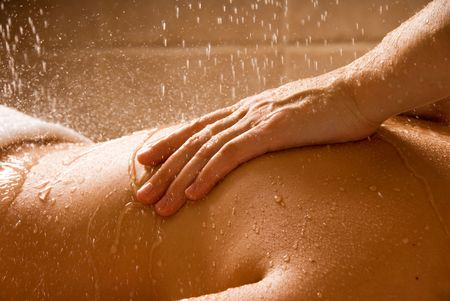 woman getting a rain massage in a day spa Stock Photo - 692729
