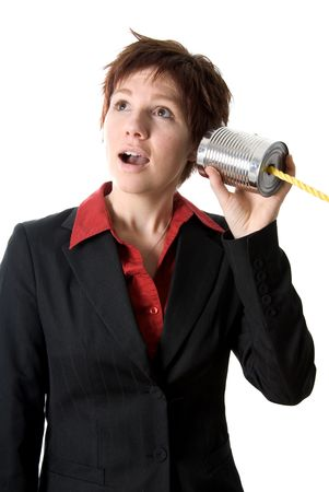 tin can: woman on a tin can phone acting surprised