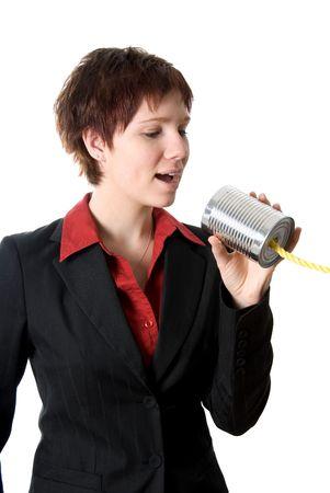tin can: woman talking on the tin can phone