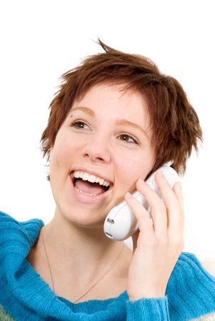 cute woman on the wireless phone laughing photo