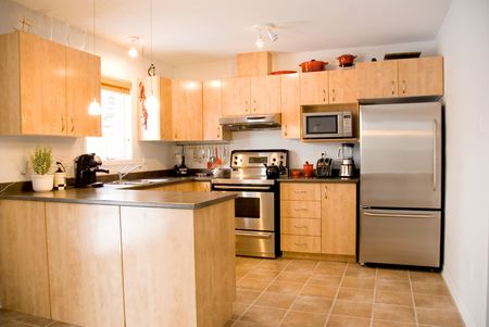kitchen appliances: modern day kitchen with stainless steel appliances